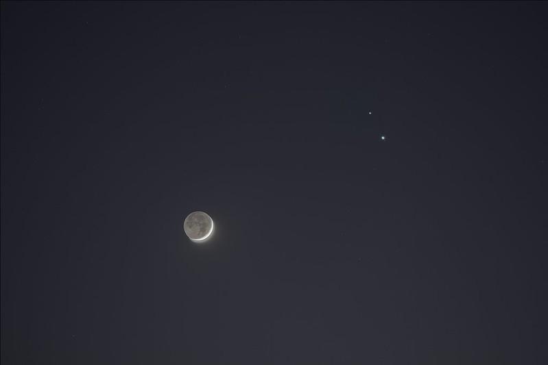 月と木星と土星の接近 (2020/12/17 17:25)