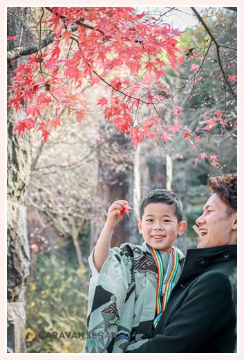七五三 パパに抱っこされモミジの葉っぱを持つ男の子