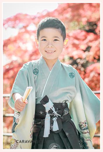 七五三 秋の紅葉シーズン 薄いブルーの着物を着た5歳の男の子