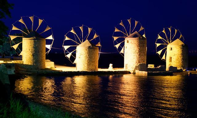 Golden mills in the night