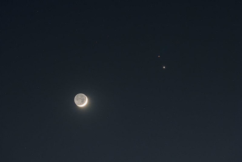 月と木星と土星の接近 (2020/12/17 17:41)