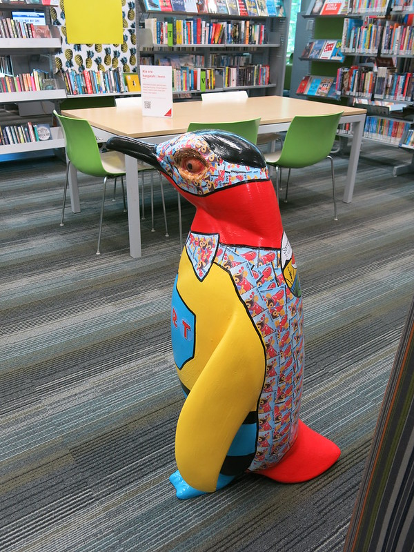 Pop up penguin at South Library