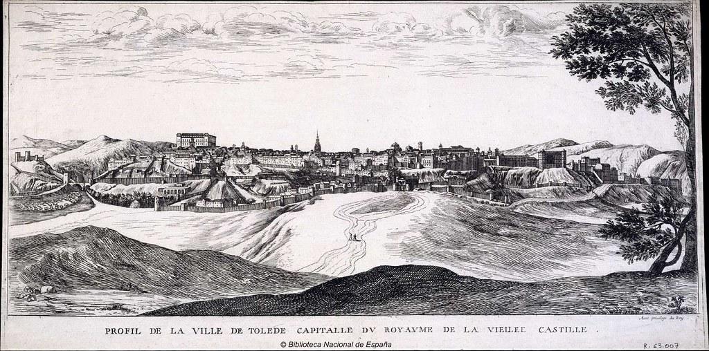 Toledo hacia 1665 en el dibujo titulado Profil de la Ville de Tolede Capitalle du Royaume de la Vieille Castille  Autor / Artista: Silvestre, Israel (1621-1691) o Louis Meunier. Biblioteca Nacional de España