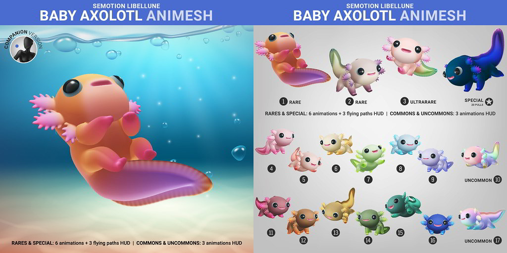SEmotion Libellune Baby Axolotl Animesh