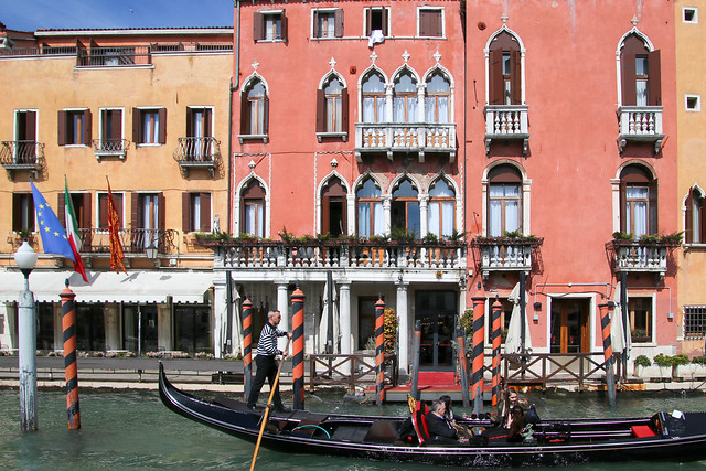 A ride with the gondola on Canal Grande, Venice, Italy