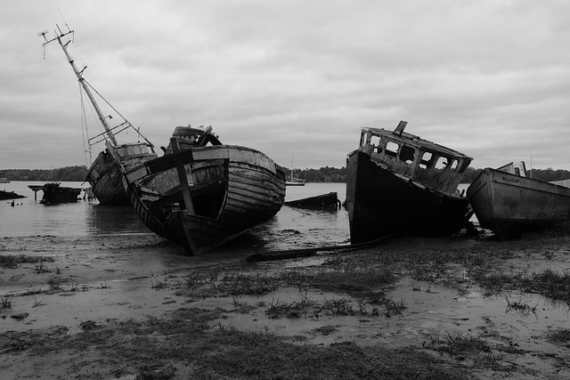 Pin Mill Boat Graveyard - black and white