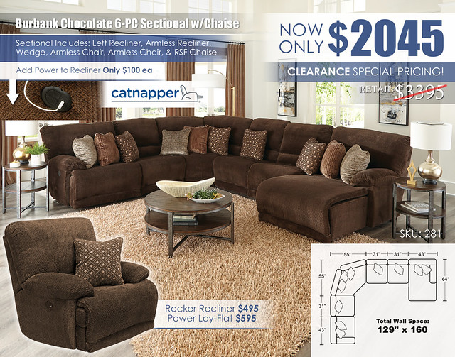 Burbank Chocolate 6-PC Sectional wChaise_281