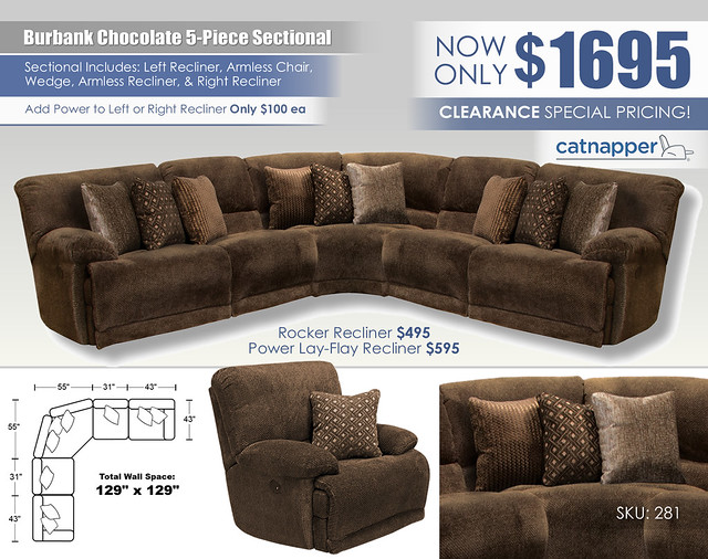 Burbank Chocolate 5-Piece Sectional_281