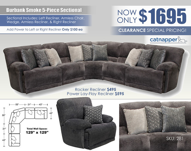 Burbank Smoke 5-Piece Sectional_281