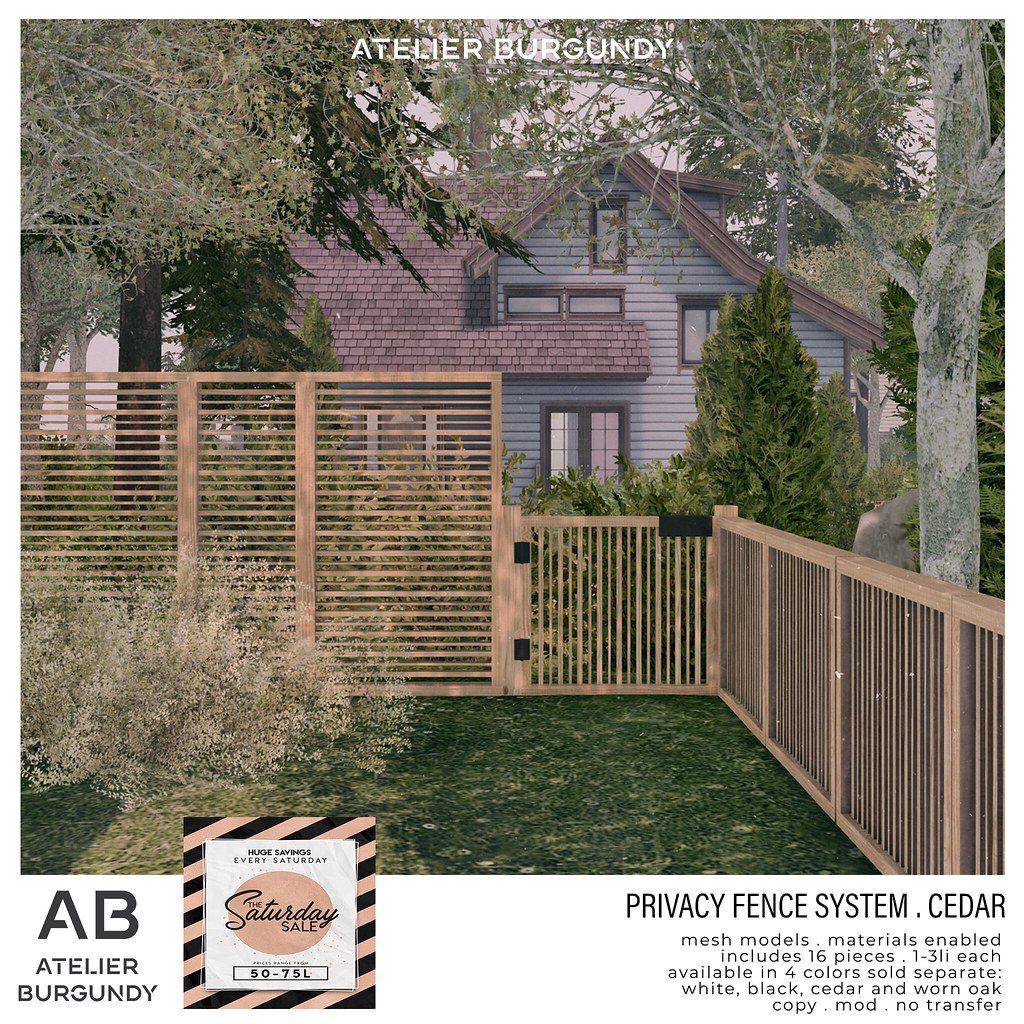 Atelier Burgundy . Privacy Fence Cedar SS