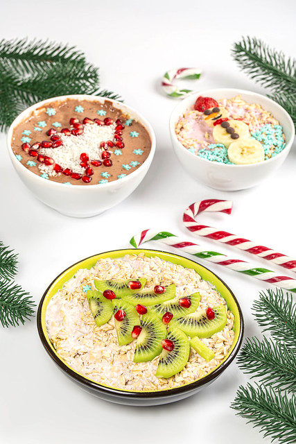Three bowls of oatmeal for christmas breakfast