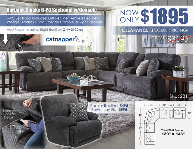 Burbank Smoke 6 PC Sectional with Console_281