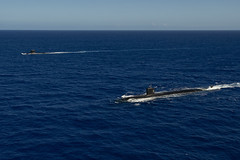 USS Asheville (SSN 758) and FS Émeraude steam in formation off the coast of Guam, Dec. 11. (U.S. Navy/Kelsey J. Hockenberger)