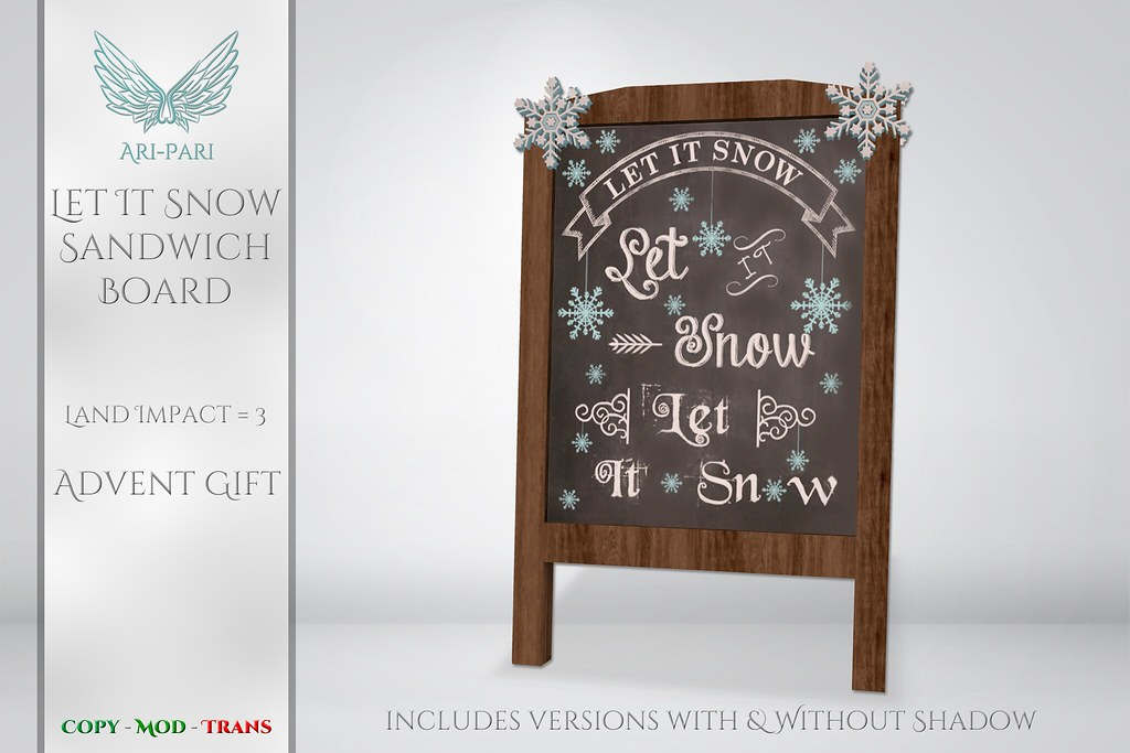 [Ari-Pari] Let It Snow Sandwich Board