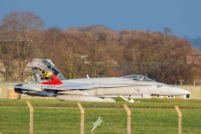 Swiss F/A-18C Hornet J-5017 with the special Falcon tail taxis at RAF Leeming