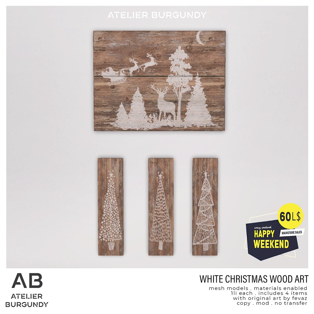 Atelier Burgundy . White Christmas Wood Art HW