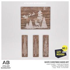 Atelier Burgundy . White Christmas Wood Art HW