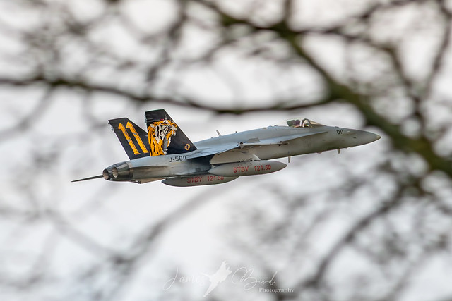 Swiss F/A-18C Hornet J-5011 'Tiger' departing RAF Leeming to return home