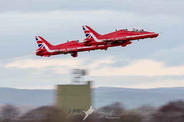 RAF Hawk T1As 'Red Arrows' XX177, XX232 depart RAF Leeming as a pair