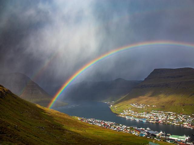 Double rainbow over Klaksvik, Faroe Islands