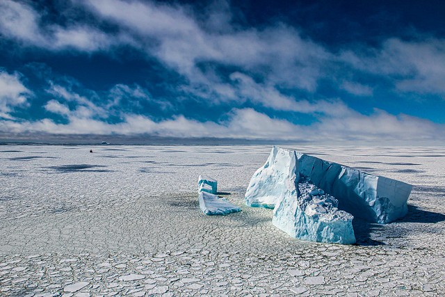 Sailing between ice and icebergs in the Bellingshausen Sea, Antarctica