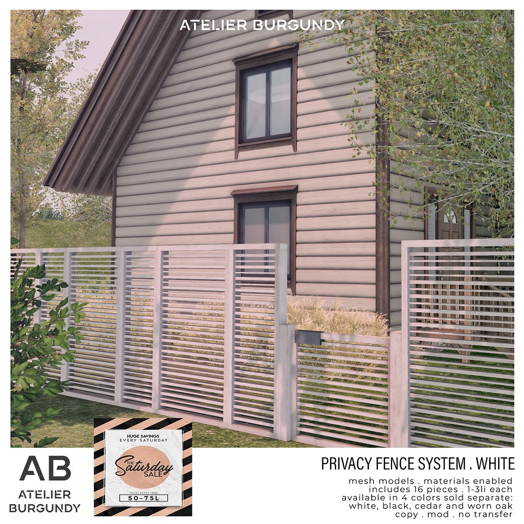 Atelier Burgundy . Privacy Fence White SS