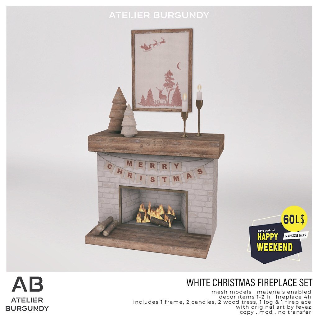 Atelier Burgundy . White Christmas Fireplace HW