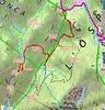 Carte du secteur Niffru - Radichella jusqu'au GR20 avec les chemins et sentiers existants en rouge plus les traces en bleu vers Punta Radichella