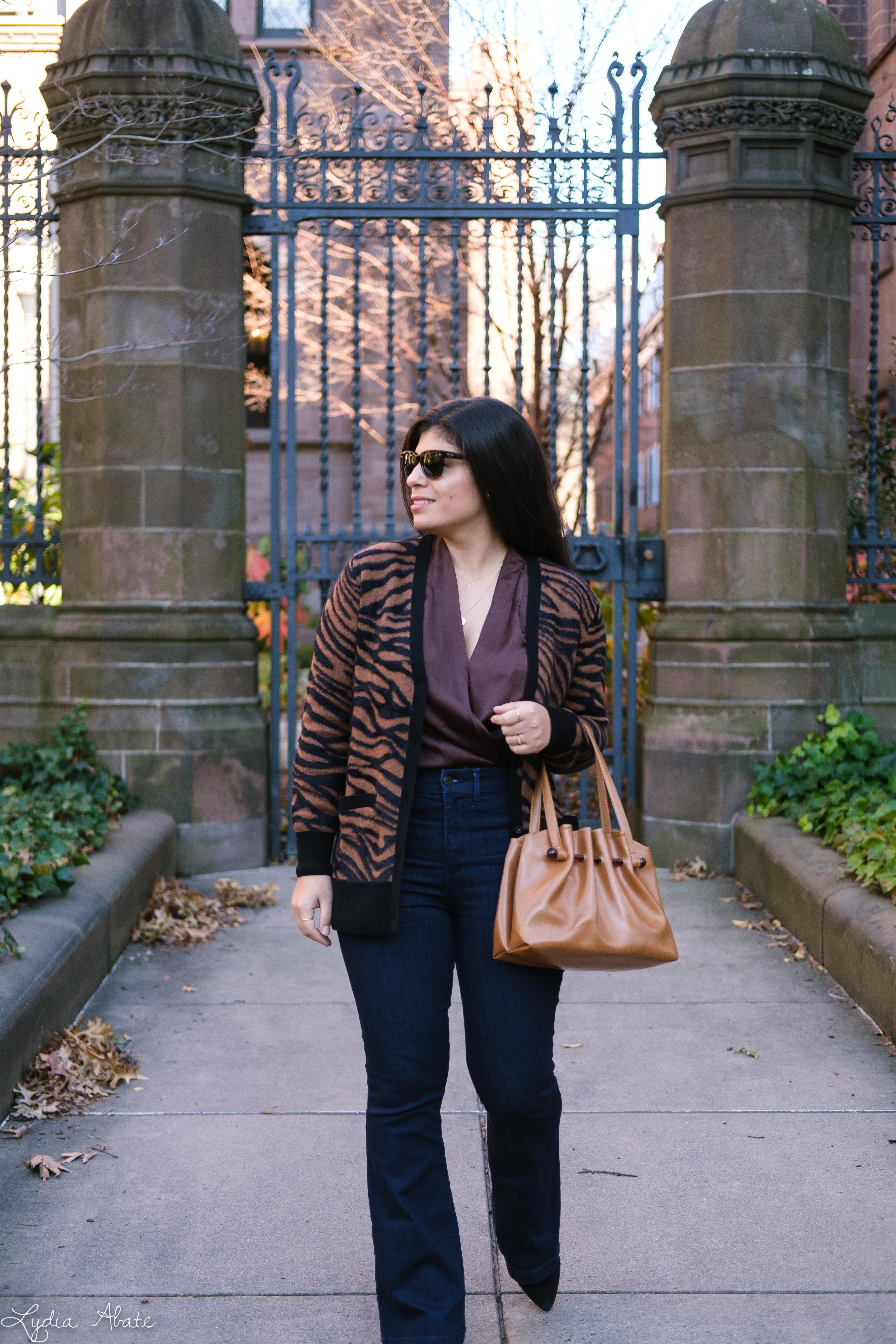 brown satin bodysuit, flared jeans, zebra cardigan, vintage purse-4.jpg