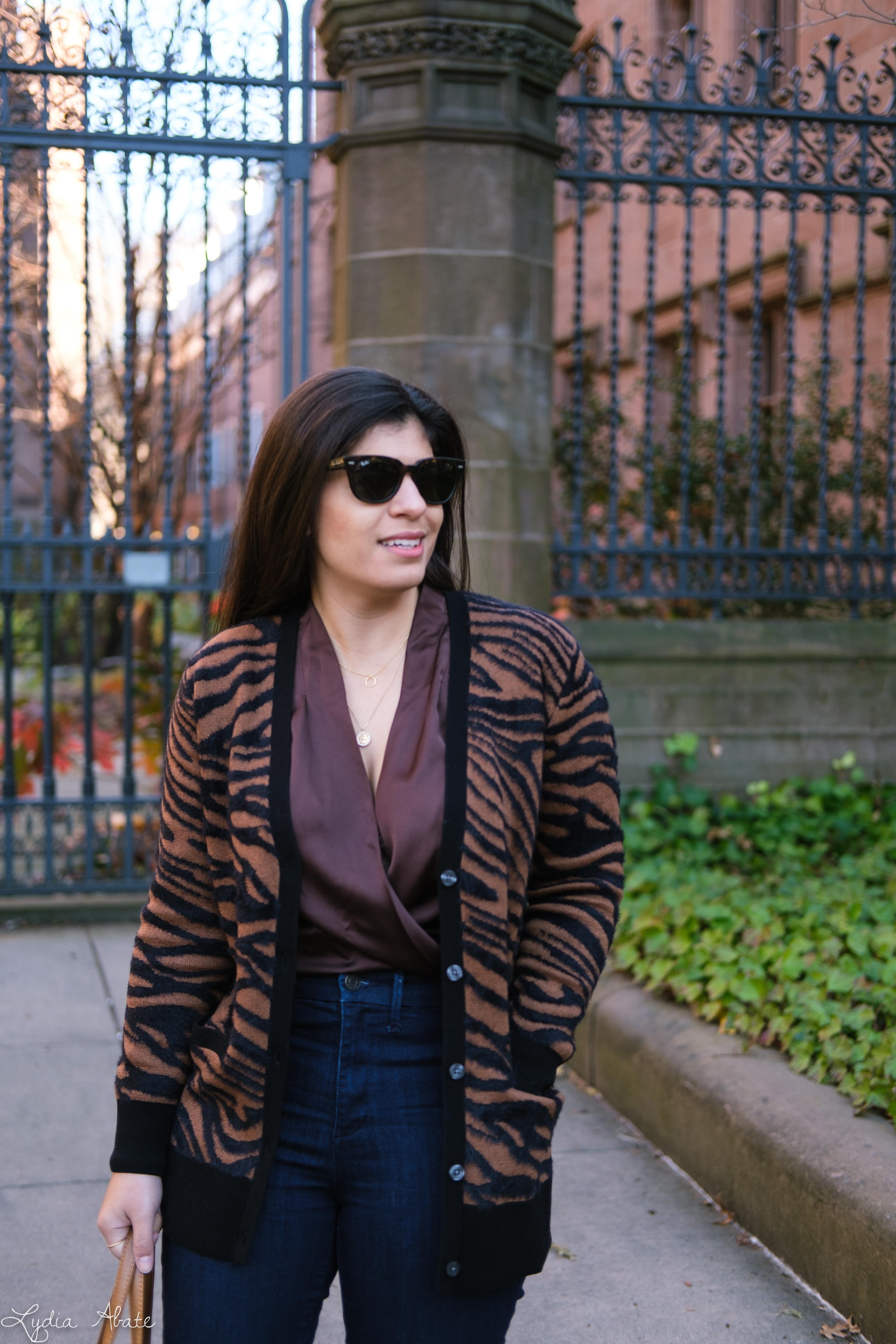 brown satin bodysuit, flared jeans, zebra cardigan, vintage purse-12.jpg