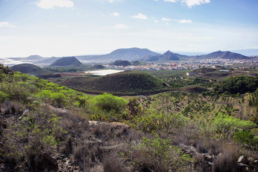 Volcanes en el paisaje del sur de Tenerife