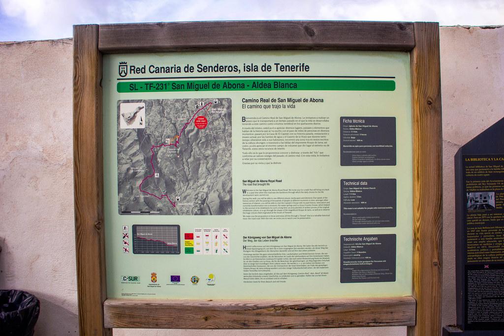 Panel informativo del sendero local desde San Miguel a Aldea Blanca