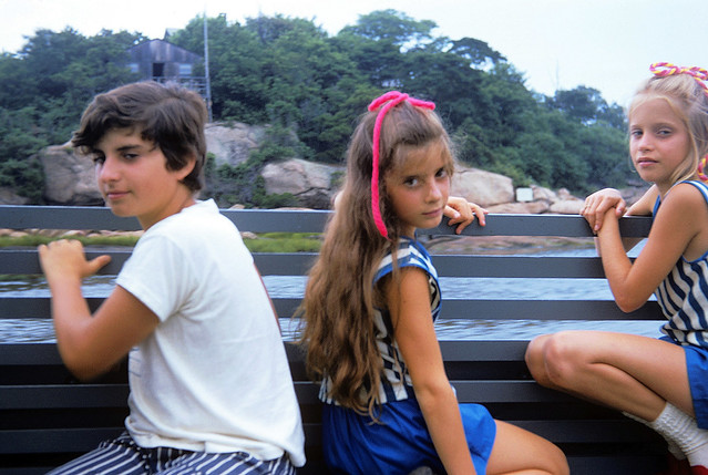 Thirteen year old me, my sister and her friend trying to look nonchalant on a tourist boat trip up the Connecticut River. You gotta love those groovy striped jeans. I'm almost sure they were bellbottoms. July 1972