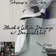 Black & White Dressage Hat Stone's Works