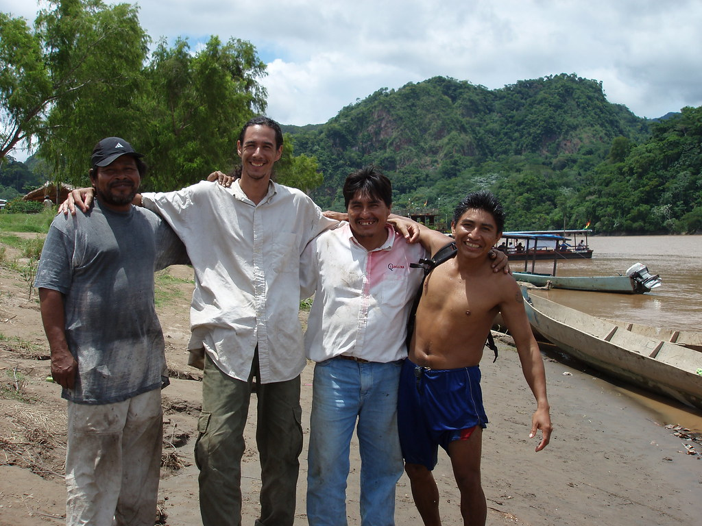 21 day trek, Amazon rainforest of Bolivia, four man crew.  Tomba the cook is on the far left, myself, Silverio the group leader, and Justino acting as porter and all-around handy-man.
