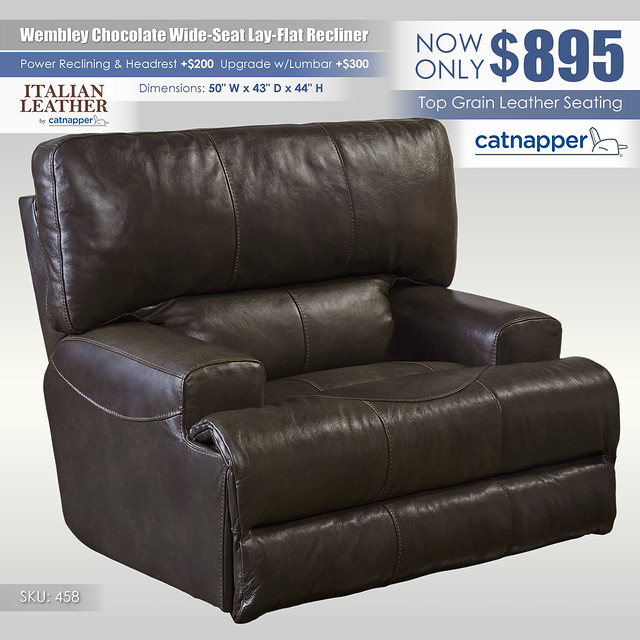 Wembley Chocolate Wide Seat Lay Flat Recliner_458