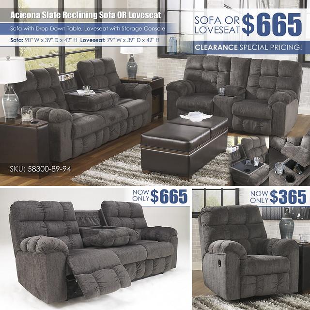 Acieona Slate Sofa OR Loveseat_58300