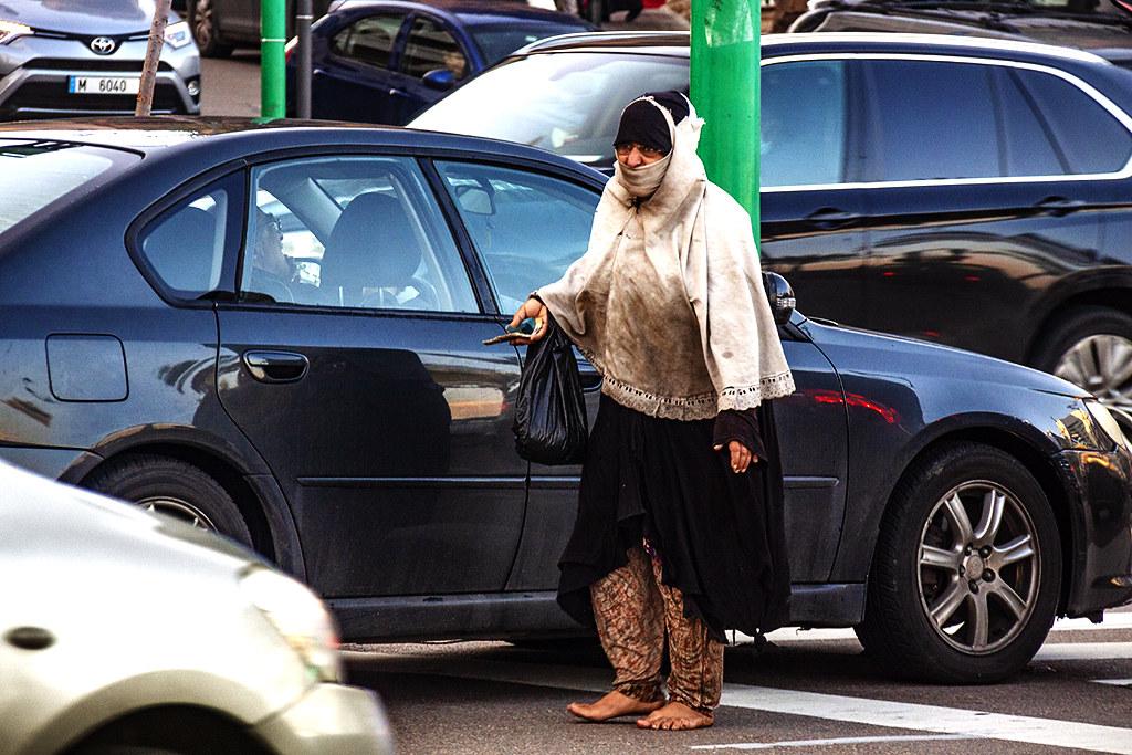 Beggar near Corniche Ain Mreisse on 12-18-20--Beirut