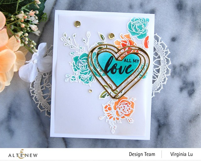 Altenew-Enchanted Rose Stamp Set-Illusion Heart Die Set-003