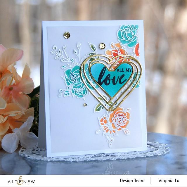 Altenew-Enchanted Rose Stamp Set-Illusion Heart Die Set