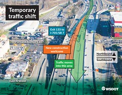 Temporary exit to I-705 and SR 7 from I-5