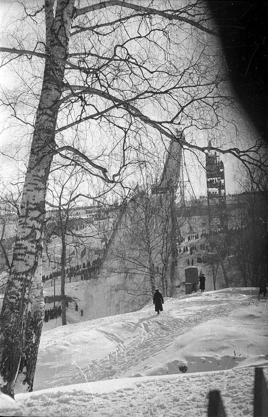 1950-е. Большой лыжный трамплин. Воробьевы горы