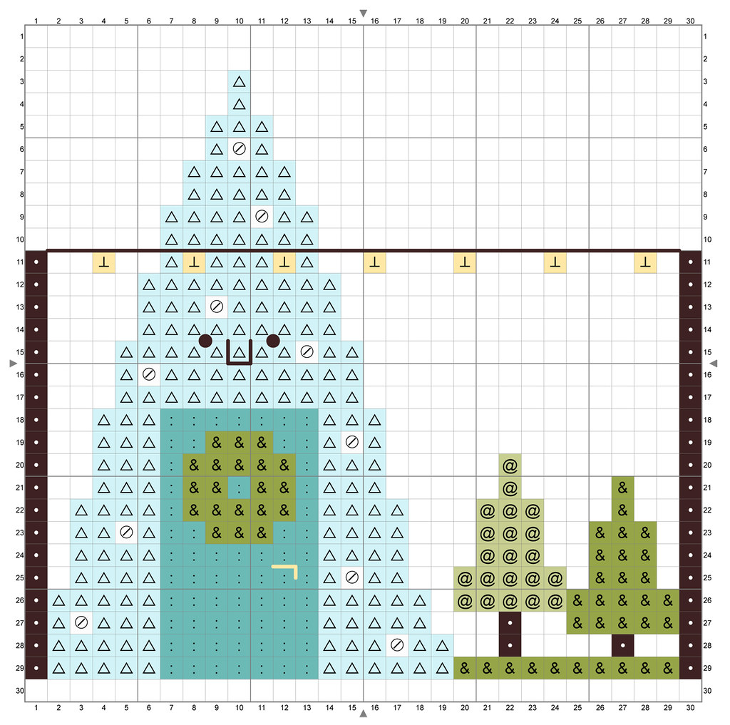 Kawaii Crossing Tree Lot Cross Stitch Chart