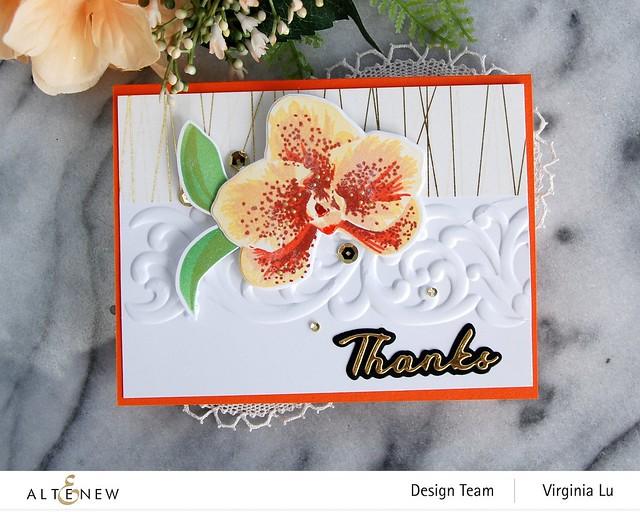 Altenew-Spotted Orchid Stamp Die Mask Stencil Bundle-Simple Greetings Die Set-Swirl Motif 3D Embossing Folder -002