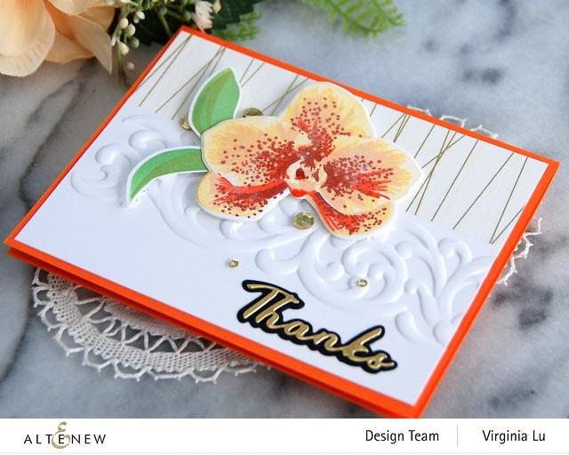Altenew-Spotted Orchid Stamp Die Mask Stencil Bundle-Simple Greetings Die Set-Swirl Motif 3D Embossing Folder -001
