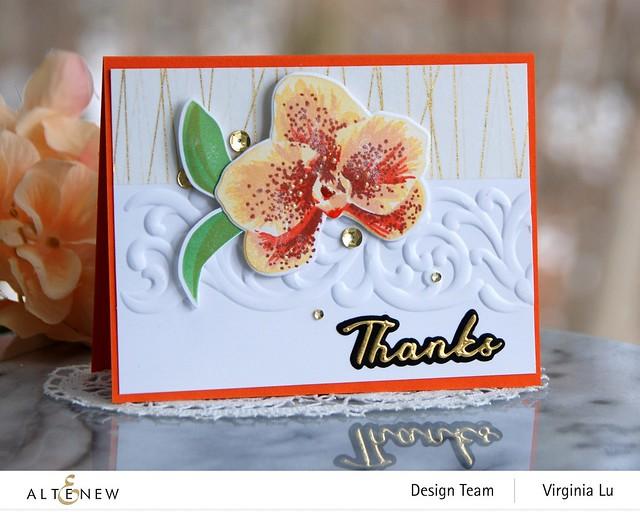 Altenew-Spotted Orchid Stamp Die Mask Stencil Bundle-Simple Greetings Die Set-Swirl Motif 3D Embossing Folder