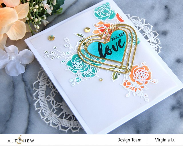 Altenew-Enchanted Rose Stamp Set-Illusion Heart Die Set-002