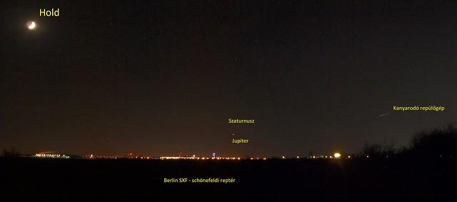 VCSE - A Hold, a hamuszürke flnye, a Jupiter, a Szaturnusz Berlinből a schönefeldi reptér felett 2020. december 18-án este - Fotó: Csizmadia Szilárd