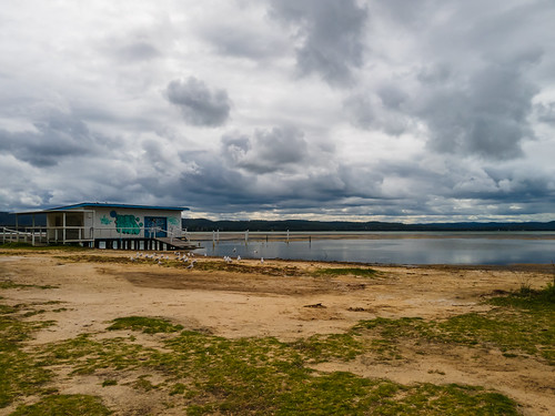 holidays clearskies cloudy australia aerial newsouthwales clouds coastal rainclouds tuggerahlake nsw scenery ocvercast travel lake scenic afternoon outdoors longjetty coast centralcoast water wharf