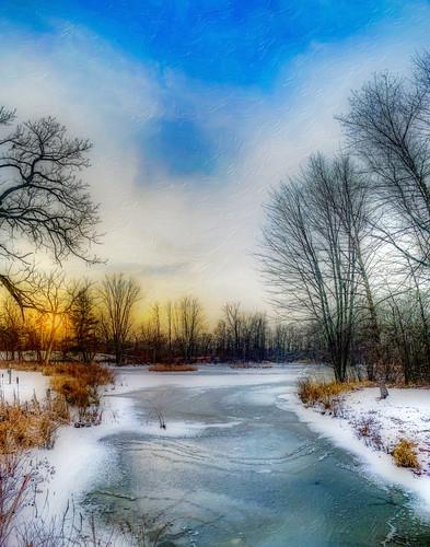 winter sunset december lakeorion michigan unitedstates
